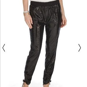 WHBM sequin crop pants with ruched & split bottoms